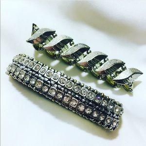 Jewelry - Vintage Stretchable Fancy Silver Bracelet Set